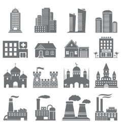 Various building icons vector