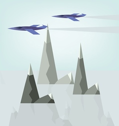 Abstract landscape design with jet planes and smok vector