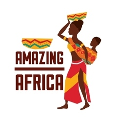 Africa design woman and baby icon graphic vector
