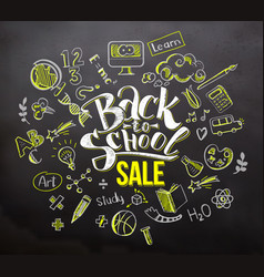 back to school sale on blackboard vector image vector image
