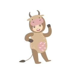 Boy wearing cow animal costume vector