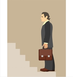 Businessman standing at the beginning of the vector