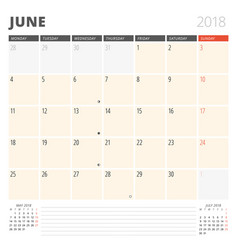 calendar planner for june 2018 design template vector image