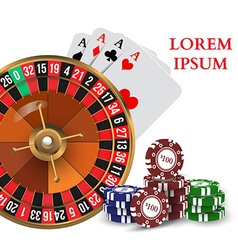 Casino Roulette Playing Cards witn Chips vector image