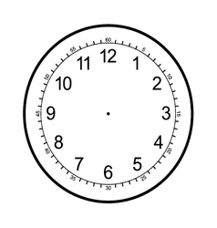 clock face blank isolated on white background vector image vector image