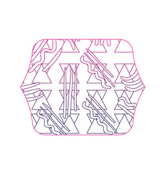 Color edge quadrate with geometric memphis style vector