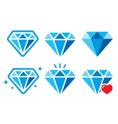 Diamond luxury blue icons set - wealth con vector image vector image