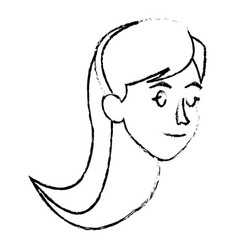 Face woman head long hair sketch vector