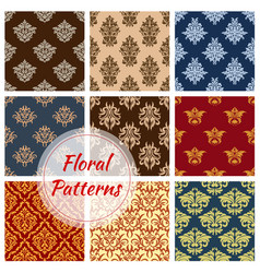 floral seamless pattern ornaments set vector image