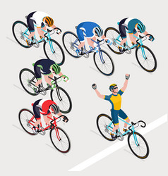 Group of mans is cyclists in road bicycle racing vector