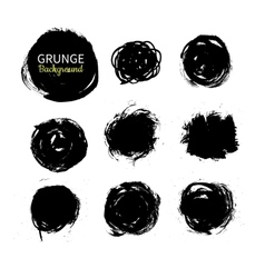 Grunge ink circle background set abstract vector