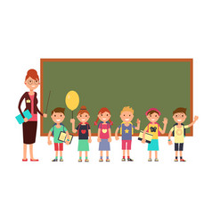 happy teacher with kids in school teaching vector image vector image
