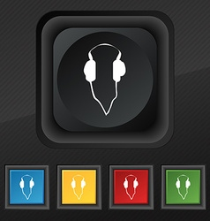 headphones icon symbol Set of five colorful vector image vector image