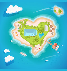 heart island top aerial view - travel tourism vector image