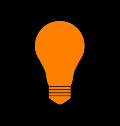 Light lamp sign orange icon on black background vector