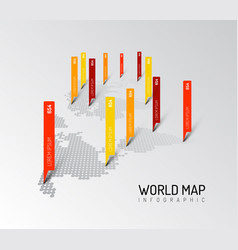 light world map infographic template vector image vector image