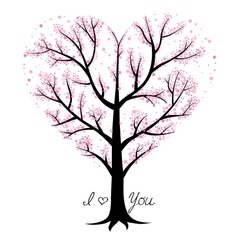 Love tree heart shaped vector image