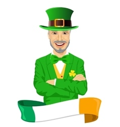 mature man with arms folded dressed as leprechaun vector image