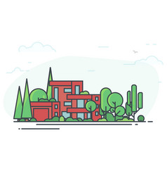 Modern house in the forest vector