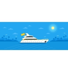 Motor yacht boat flat vector image