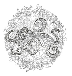 Octopus with high details vector image