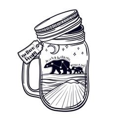 printing with a beautiful jar and northern bear vector image vector image
