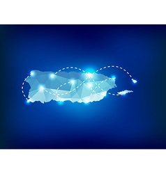 Puerto rico country map polygonal with spot lights vector