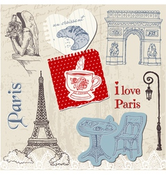 Scrapbook Design Elements - Paris Vintage Set vector image