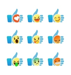 Set of emoticons thumb up symbol with emoji vector