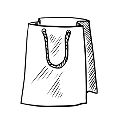 Sketch of paper shopping bag vector