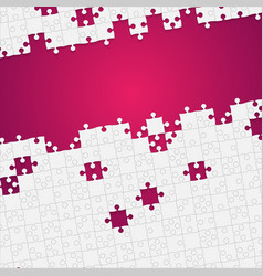 some white puzzles pieces pink - jigsaw vector image vector image