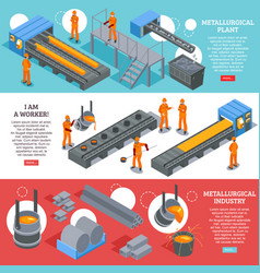 Steel industry isometric banners vector