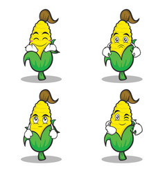Sweet corn character cartoon of set vector