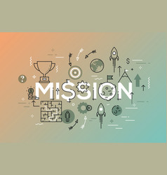 thin line flat design banner of business mission vector image