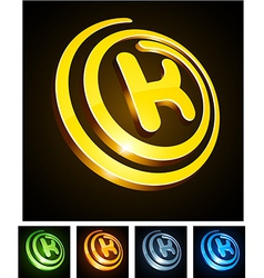 Vibrant 3d k letter vector image