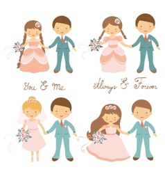Wedding couples set vector image vector image