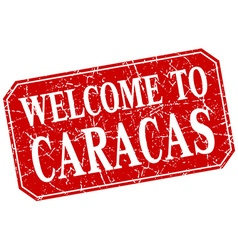 Welcome to caracas red square grunge stamp vector