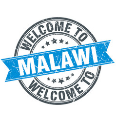 Welcome to malawi blue round vintage stamp vector