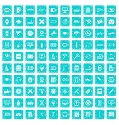100 training icons set grunge blue vector