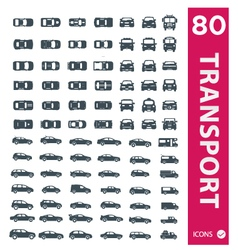 Transportation icons set of 80 icons 2 vector