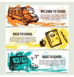 Back to school banners website header set vector image