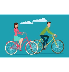 Man and woman boy and girl riding sport bikes vector