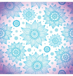 Blue sunflower pattern vector