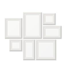 Empty white pocture frames 3d photo borders vector image