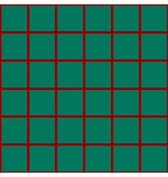 Red Grid Chess Board Green Background vector image