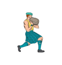 Stone throw highland games athlete drawing vector
