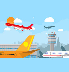 Airport control tower and flying airplane vector