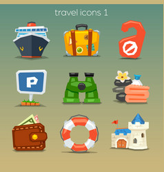 Funny travel icons-set 1 vector