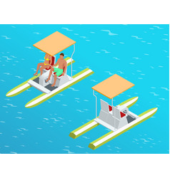 Relax on the paddle boat couple on pedalo also vector