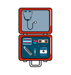 red first aid kit emergency vector image